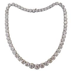 83.75 Carats Round Brilliant Diamonds Platinum Riviere Necklace