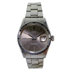 Rolex Stainless Steel Date Oyster Perpetual Charcoal Dial Watch Ref 1501