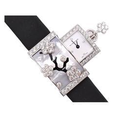 Van Cleef & Arpels Ladies Gold Diamond Mother of Pearl Secret Mirror Wristwatch