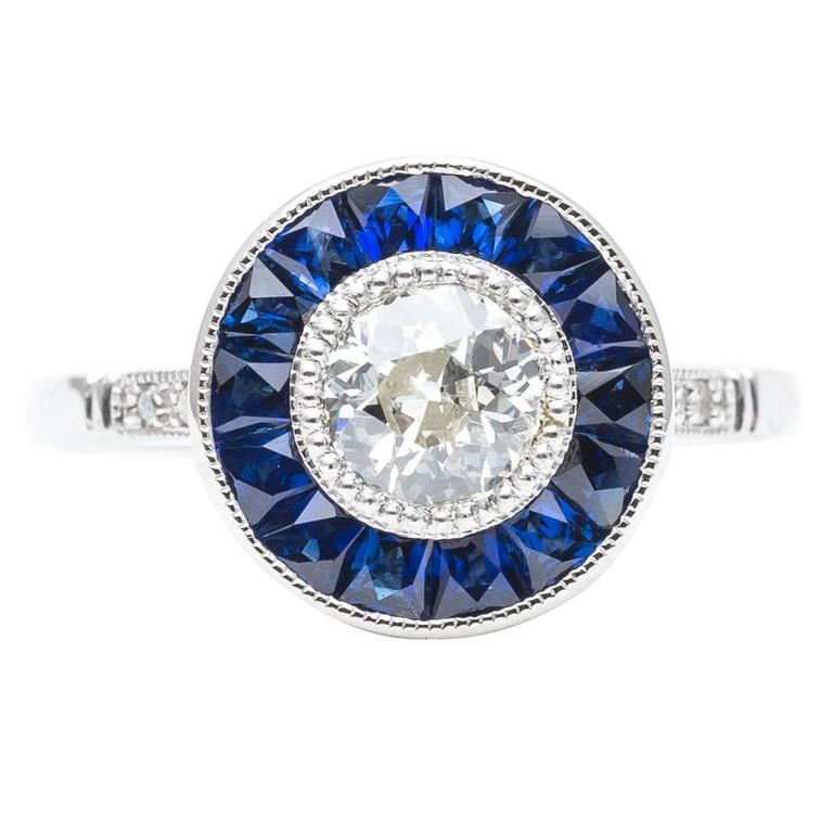 Vivid Blue French Cut Sapphire and Diamond Target Ring in Platinum 1