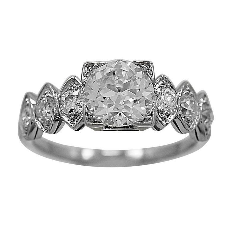 deco 1 02 carat platinum engagement ring for