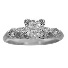 Art Deco .75 Carat Diamond Platinum Engagement Ring