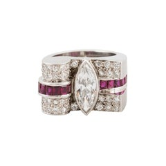 Art Deco Mounting Set With Marquise Diamond  D,VVS2, Round Diamonds and Rubies