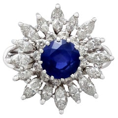 1950s 1.76 Carat Sapphire and 2.05 Carat Diamond White Gold Cocktail Ring