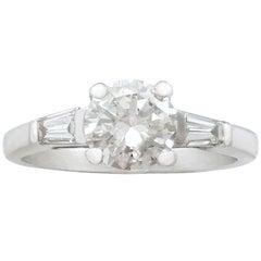 1950s 1.32 Ct Diamond and Platinum Solitaire Ring