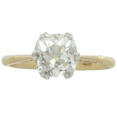 1920s 2.08 Carat Diamond Yellow Gold Solitaire Engagement Ring