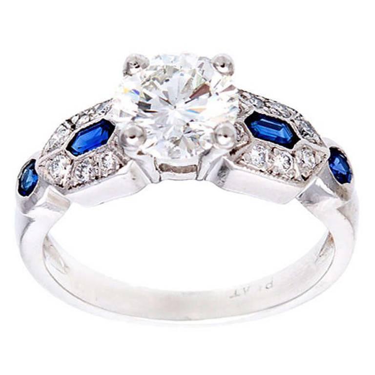 1.27 Carat Diamond Sapphire Platinum Engagement Ring