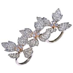 Stambolian Three-Finger Diamond Gold Flower Ring