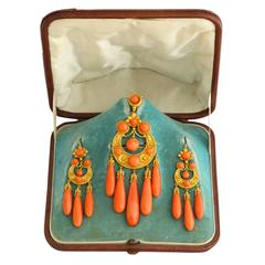 1850s Carved Coral and Gold Pendant and Earrings Suite