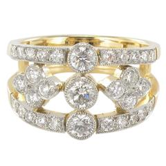 New French Openwork Diamond Gold Platinum Band Ring