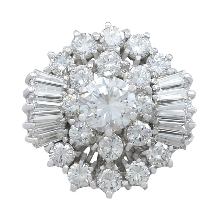 1960s 4.10 Carat Diamond and White Gold Cluster Ring