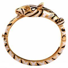 1960s Enamel Gold Zebra Animal Bangle Bracelet