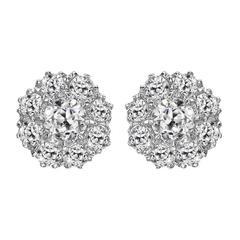 Pair of Old Cut Diamond Cluster Earrings