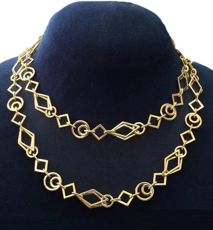 Long Gold Geometric Shaped Links Necklace 3