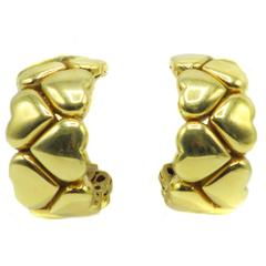 Gold Hearts Huggie Earrings