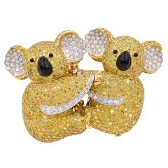 Graff Yellow Diamond Two Koala Bear Detachable Brooch