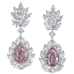 Nally Magnificent GIA Cert Natural Pink Diamond Platinum Earrings