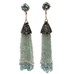 Aquamarine Gold Dangle Tassel Earrings with Diamond Silver Cup