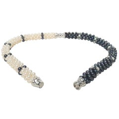 Woven Black and White Pearl Rope Necklace with Silver Magnetic Clasp