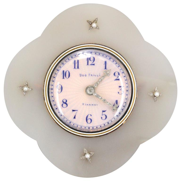 Ugo Frilli Art Deco Silver Diamond Agate Enamel Clock