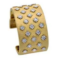 Florentine Style Diamond and Engraved Gold Cuff Bracelet