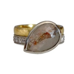 Luca Jouel One of a Kind Parti-Pear Diamond, Gold and Platinum Ring