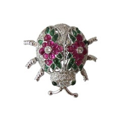 Fabulous Emerald Ruby Diamond Gold Beetle Pin