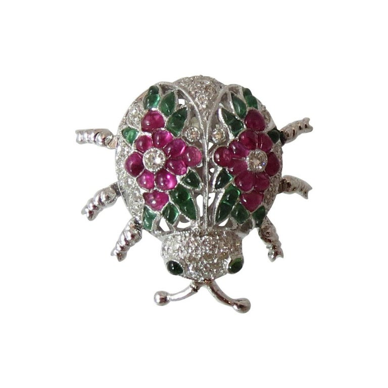 Fabulous Emerald Ruby Diamond Gold Beetle Pin For Sale