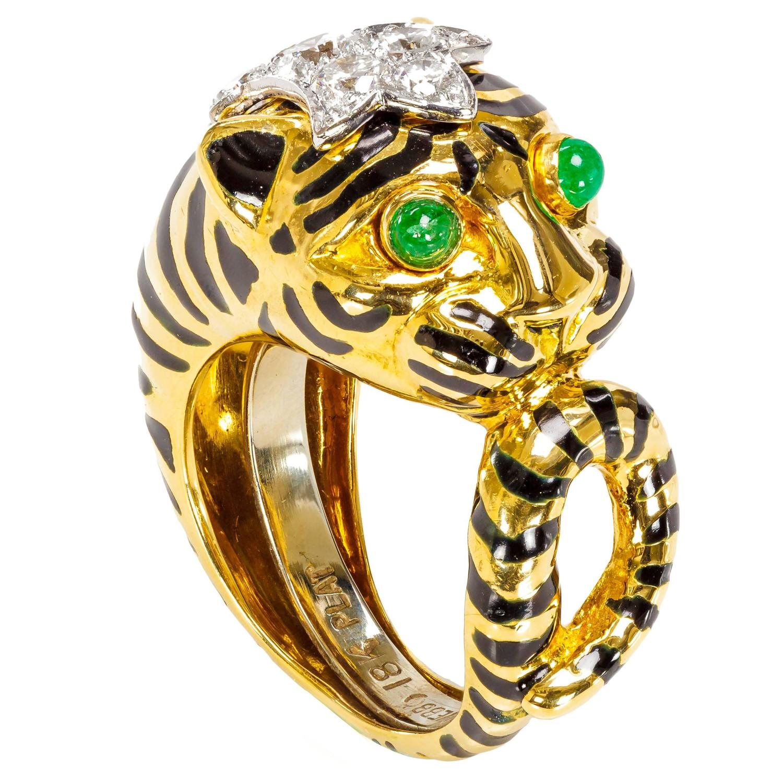 david webb emerald gold platinum tiger ring for