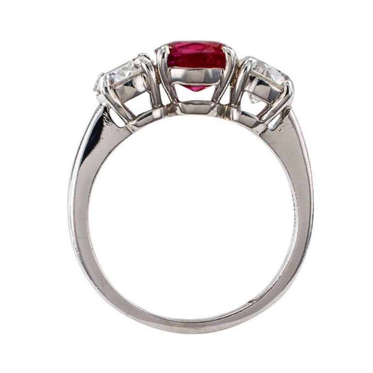 Unheated Burma Ruby Diamond Platinum Three-Stone Ring For Sale 1