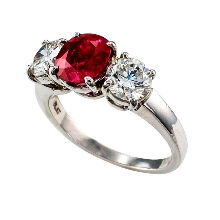 Custom Burma Ruby Ring: Unheated Burma Ruby Diamond Platinum Three-Stone Ring For