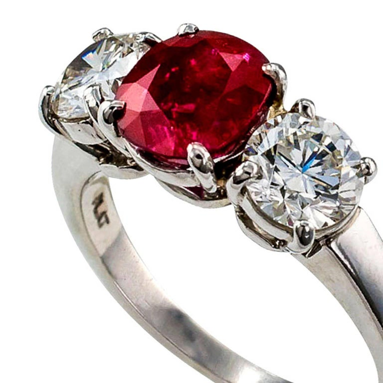 Modern Unheated Burma Ruby Diamond Platinum Three-Stone Ring For Sale