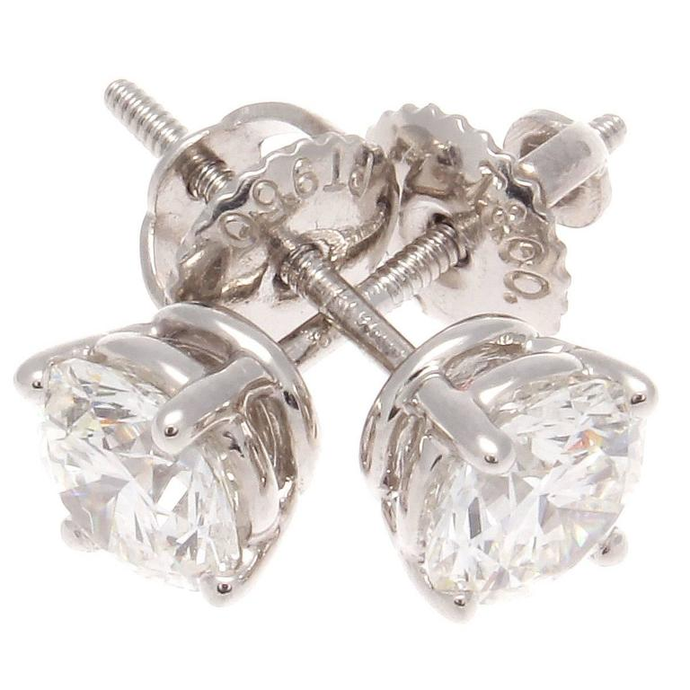 Tiffany Diamond Stud Platinum Earrings For