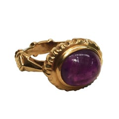 Cabochon Amethyst 14 k Yellow Gold Ring Size 7.5