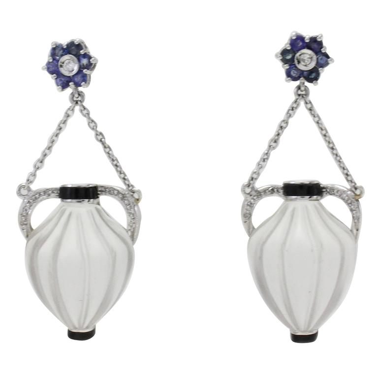 Crystal Rock Sapphire Diamond Gold Amphora Earrings