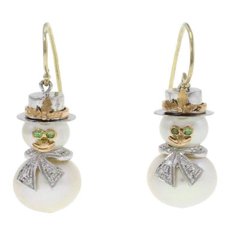 Pearl Diamond Gold Snowman Earrings For