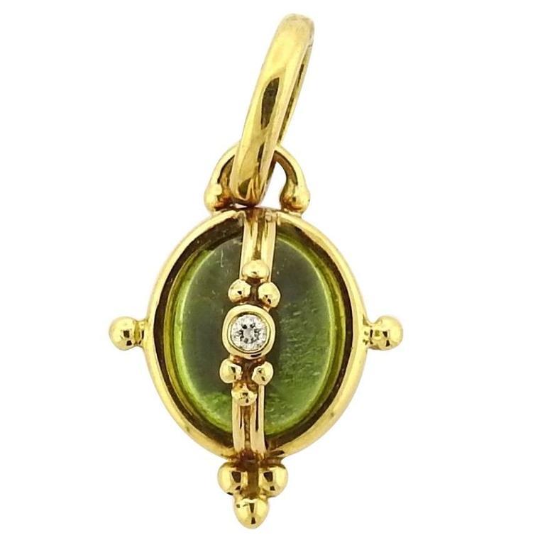Temple St. Clair Peridot Diamond Gold Mini Locket Pendant