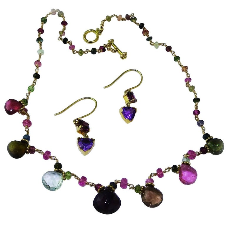 Beautiful Suite of Handmade Tourmaline Necklace & Amethyst and Garnet Earrings
