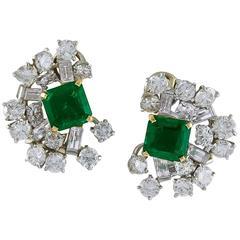 1960s Cartier Colombian Emerald  Diamond Earclips