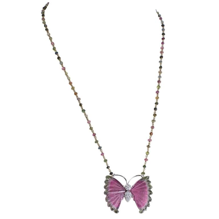 Beautiful Watermelon Tourmaline and Diamond Gold Butterfly Necklace 1