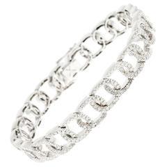 Diamond White Gold Oval Link  Bracelet