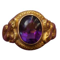 George O. Street & Sons Amethyst Gold Snake Ring