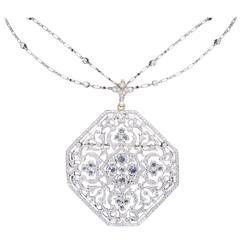 Kwiat Octagonal Diamond Gold Pendant