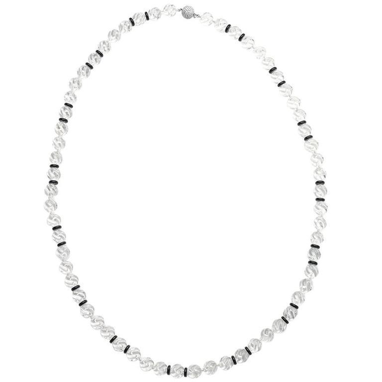 Carved Rock Crystal Black Onyx Gold Necklace