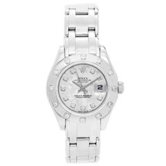Rolex Ladies White Gold Diamond Pearlmaster Automatic Wristwatch Ref 69319