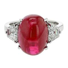 Burma No Heat Ruby Diamond Platinum Three-Stone Ring