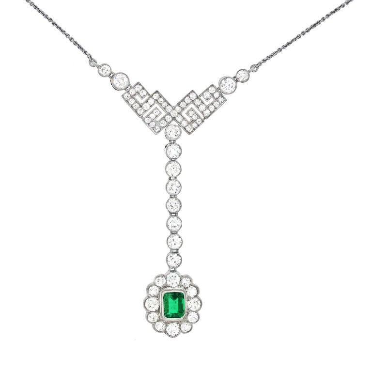 Art Deco Diamond and Emerald Set Gold Necklace