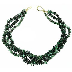 Elegant Three-Strand Necklace of Polished Emerald Chips