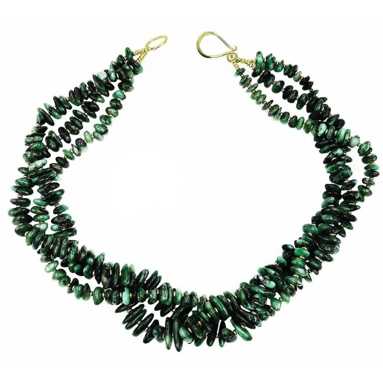 Elegant Three Strand Necklace of Polished Emerald Chips