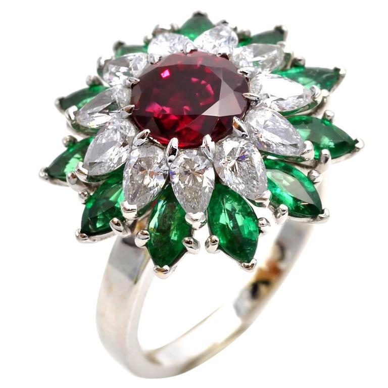 organic vintage cluster ruby emerald ring diamond